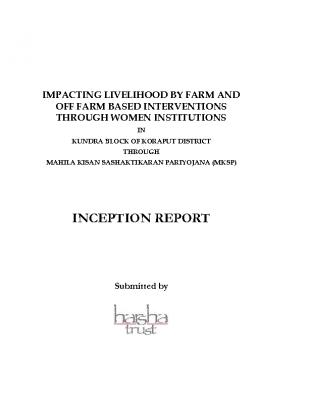 INCEPTION REPORT, HARSHA TRUST -MKSP